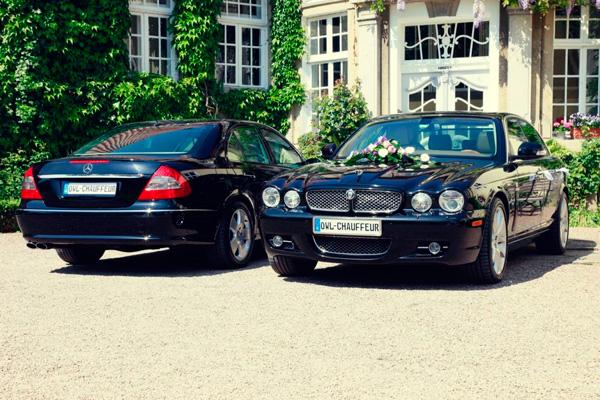 Mieten Sie ein Jaguar oder Mercedes als Hochzeitsauto inkl. Chauffeurdienst